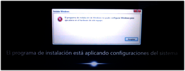 Error en primer arranque de Windows 7